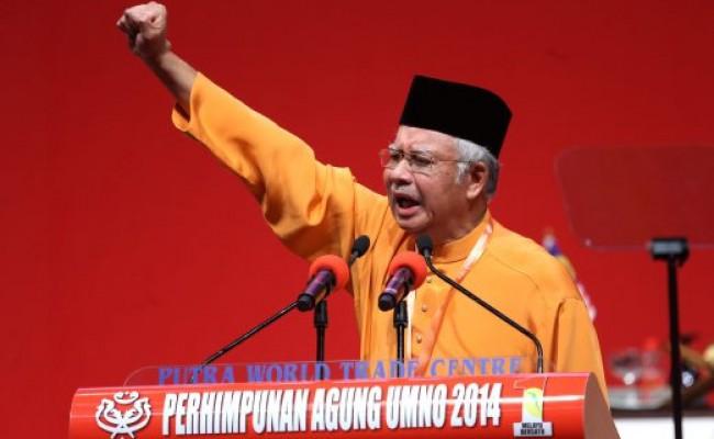 KUALA LUMPUR. 27 NOVEMBER 2014. Presiden UMNO Datuk Seri Najib Tun Razak berucap di majlis perasmian Perhimpunan Agung UMNO 2014 di Dewan Merdeka, PWTC, Kuala Lumpur. NSTP/ Effendy Rashid.